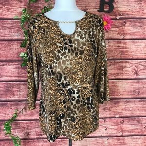 Chico's Travelers Top Tunic 10 12 2 Gold Floral